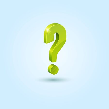 Green question mark isolated on blue background