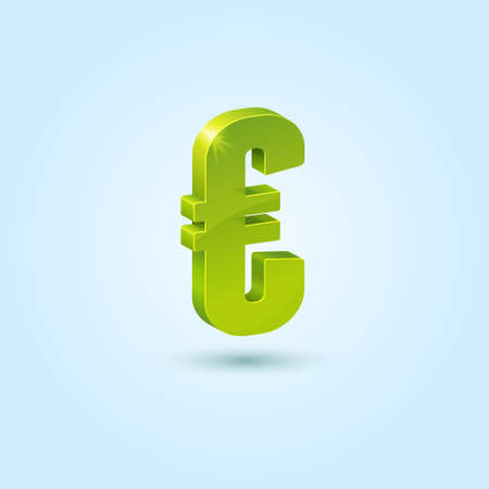 Green euro symbol isolated on blue background Vector