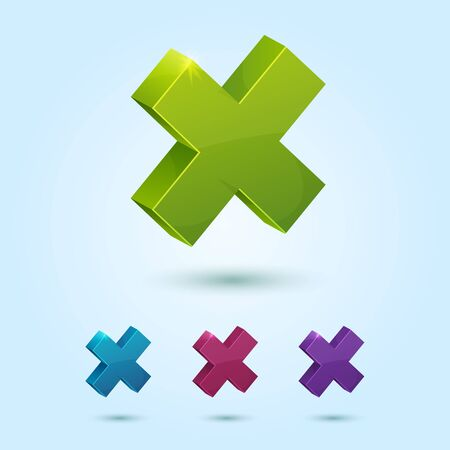 Set of X mark symbol isolated on blue background Stock Vector - 14875665
