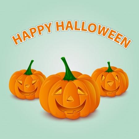Halloween pumpkins card Illustration