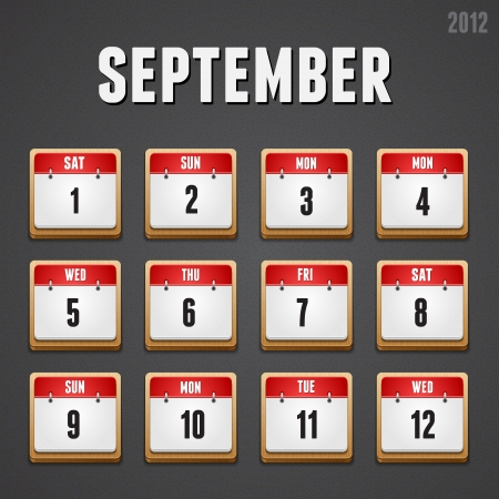 week end: Set of red high-detailed calendar icons