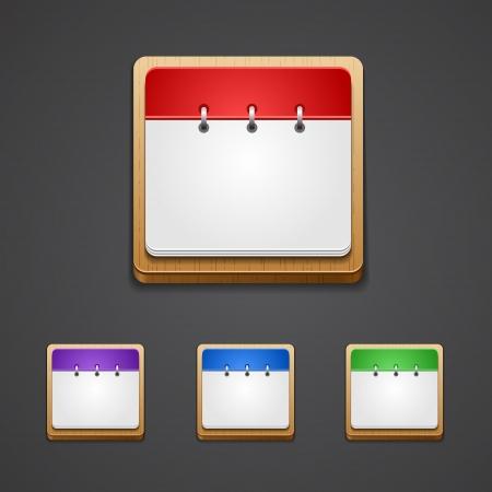 ilustración del icono del calendario detallado de alta