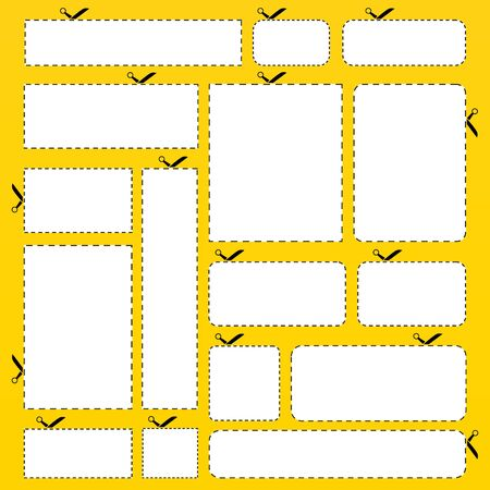 Blank paper banners isolated on yellow background