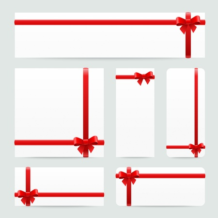 Paper banners with gift red bows and ribbons Vector