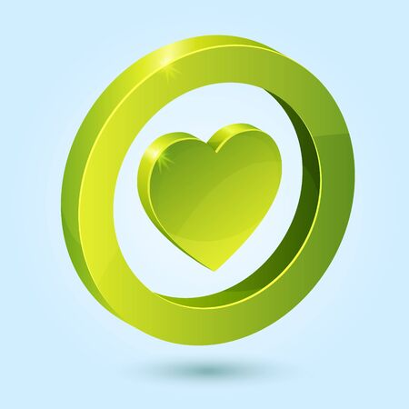 Green heart symbol isolated on blue background. This icon is fully editable. Vector
