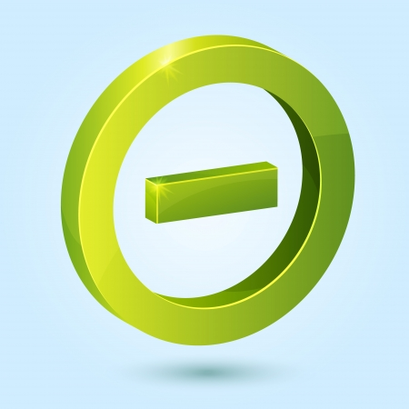 Green minus symbol isolated on blue background. This icon is fully editable.