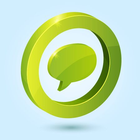Green bubble speech symbol isolated on blue background. This icon is fully editable.
