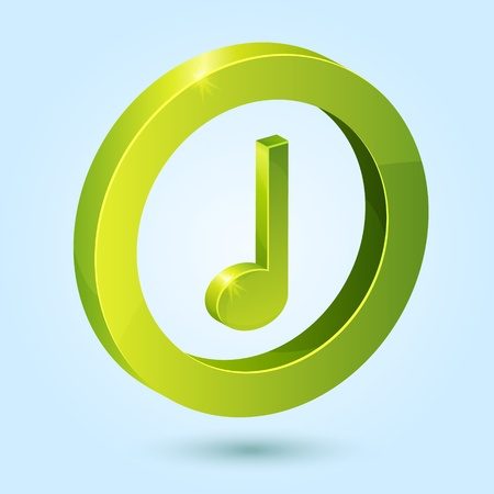 Green music symbol isolated on blue background. This icon is fully editable.
