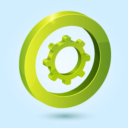Green settings symbol isolated on blue background. This icon is fully editable. Vector