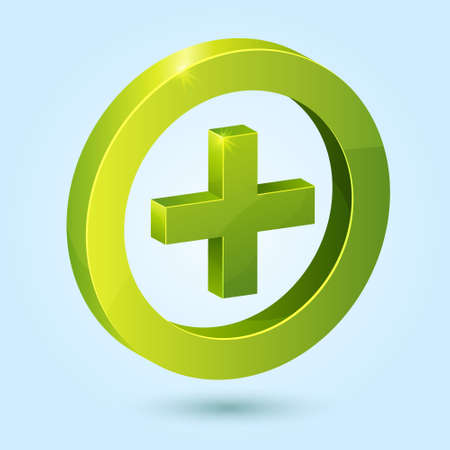 Green plus symbol isolated on blue background. This icon is fully editable.