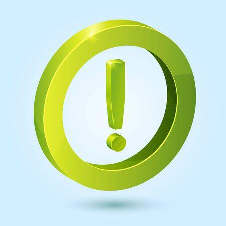 Grüne Ausrufezeichen-Symbol auf blauem Hintergrund. Dieses Symbol ist vollständig editierbar. Vektorgrafik