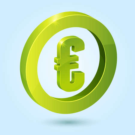 Green euro symbol isolated on blue background. This icon is fully editable. Illustration