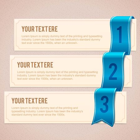 Set of 3 option banners with blue ribbon Illustration