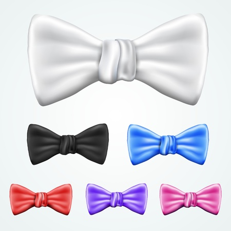 Set of 6 bowties in different colors Illustration