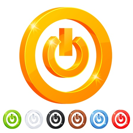 Set of 7 power button symbol Stock Photo - 18342999