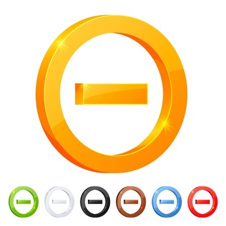 Set of 7 minus symbol in different colors