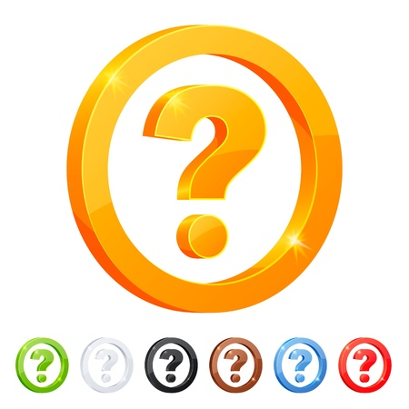 Set of 7 question symbol in different colors  Stock Vector - 18343017