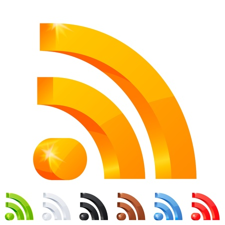 Set of 7 RSS icon in different colors  Illustration