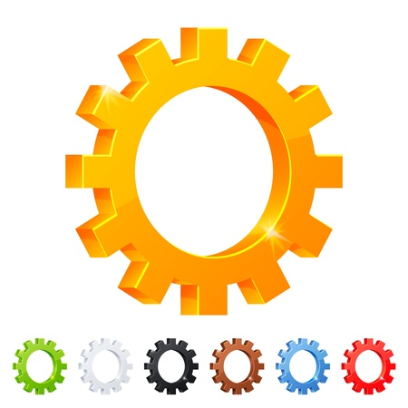 Set of 7 settings symbol in different colors