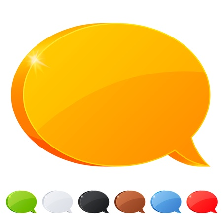 Set of 7 speech bubble symbol in different colors Stock Photo