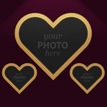 Set of 3 heart photo frames of different sizes. Vector Image. Illustration