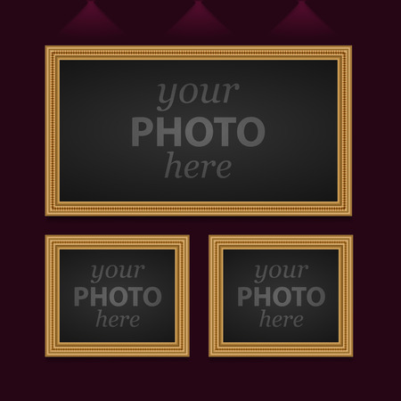 Set of 3 photo frames of different sizes. Vector image Illustration