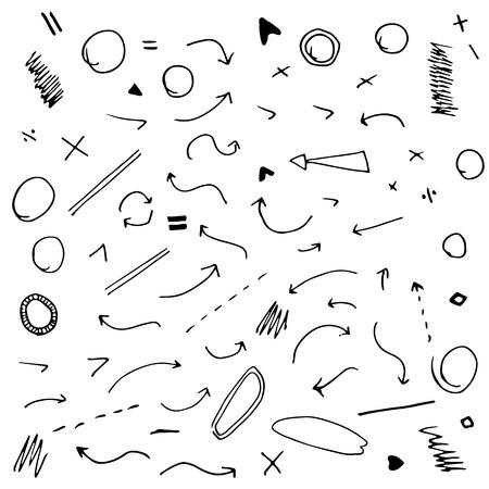 Flechas dibujadas aislada vector de mano conjunto sobre fondo blanco. Vector imagen. Vectores