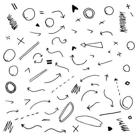 Isolated vector hand drawn arrows set on white background. Vector image. Vector