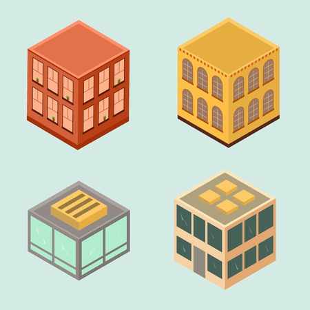 Set of 4 isometric houses in flat style. Vector image.