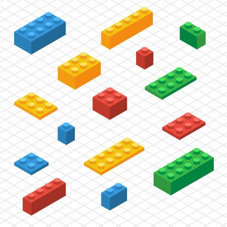 Czy zestawu siebie z klocków Lego w rzucie izometrycznym. DIY grafika wektorowa.