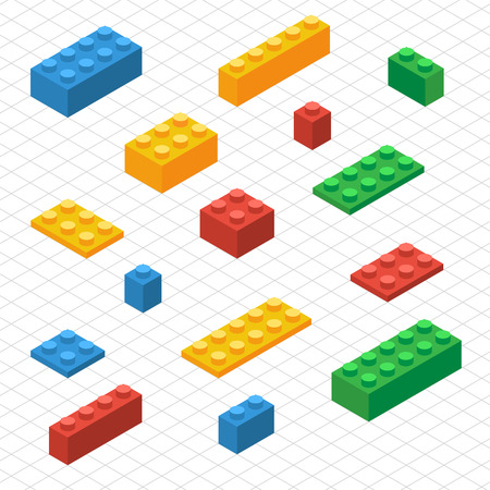 toy block: Do your self set of lego blocks in isometric view. DIY vector image. Illustration