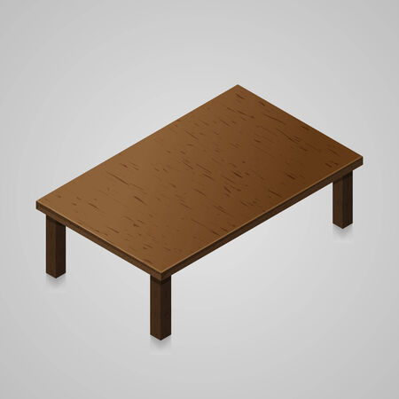 Isometric woden kitchen table isolted on light background. Illustration