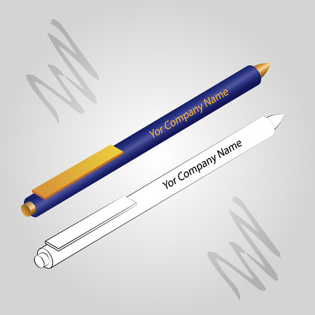 Set of 2 pens isolated on light gray background. Vector image.