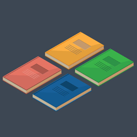 Set of 4 isometric books in different colors. Vector image.