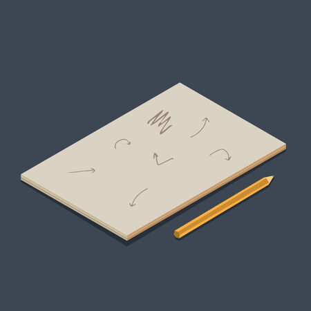 Isometric vector copybook with pencil on dark background.