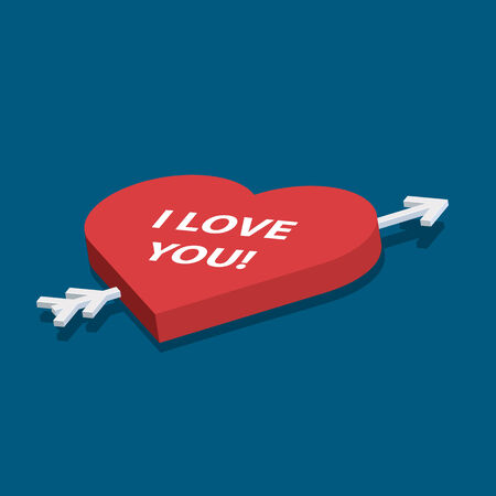 Isometric vector heart with love you text on blue background