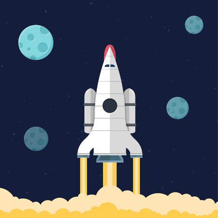 Set of flat design illustration concepts for web design development, logo design, graphic design, design agency. Rocket that fly in universe. Illustration
