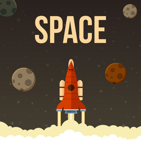 header image: Rocket vector illustration that fly in universe. Header image for website