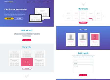 One page website design template. All in one set for website design that includes one page website templates. Flat one page website. Wireframe. Illustration