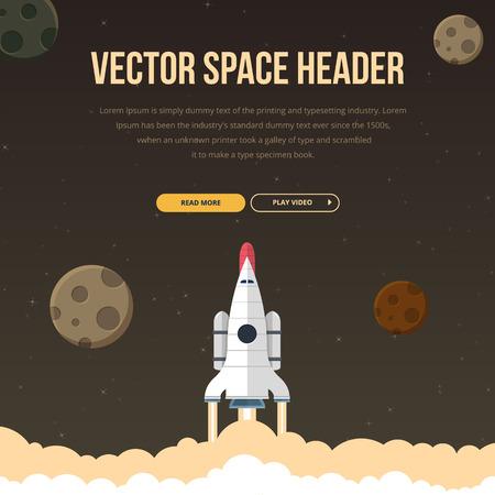 Set of flat design illustration concepts for web design development, logo design, graphic design, design agency. Rocket that fly in universe. Vector