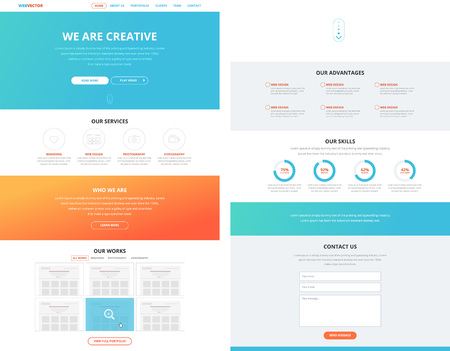 One page website design template in flat design style for web development. Business concept. Wireframe.