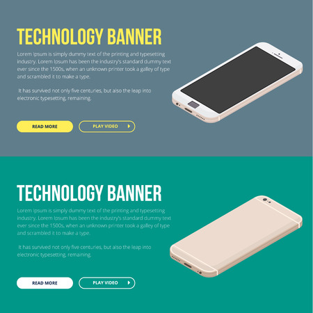 A set of modern vector banners with smartphone. Vector flat design. Illustration