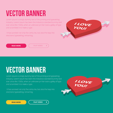 Set of 2 love banners for web development. Flat vector design concept.