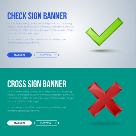 banner illustration of Check mark and cross sign.