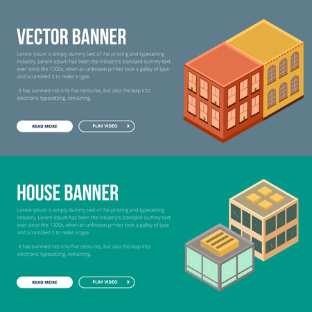 Estate vector banner with houses. Flat concept banenr for web development and printing.