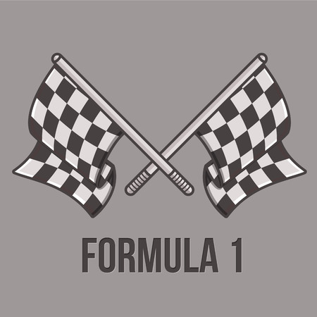two crossed checkered flags: Racing flags isolated on light background. Speed flags for web sites, flyers and printing. Illustration