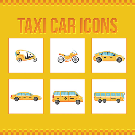Set of taxi icons. Velo taxi. Moto taxi. Limousine taxi. Bus taxi. Special taxi. Vector illustration for web sites, presentations and printing Illustration