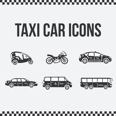 velo: Set of taxi icons. Velo taxi. Moto taxi. Limousine taxi. Bus taxi. Special taxi. Vector illustration for web sites, presentations and printing Illustration