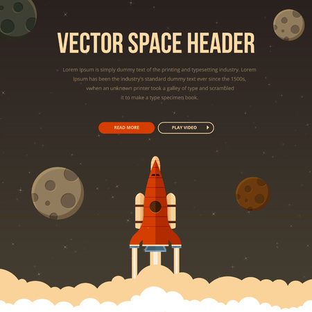 flaying: Flat rocket icon flaying in space. Image with text and buttons.