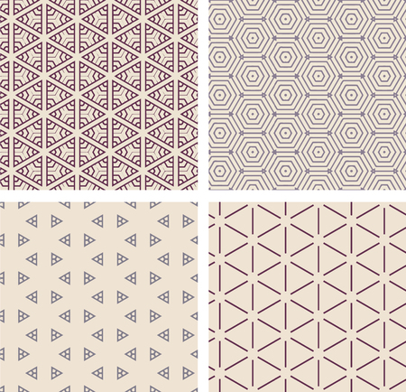 Set of seamless pattern. Geometric repeating pattern background. Illustration